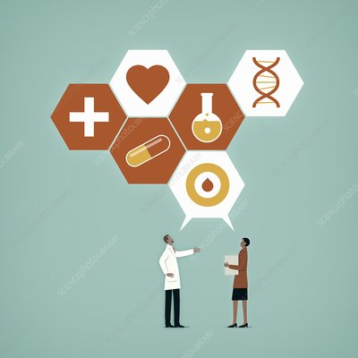 Communication in healthcare, illustration