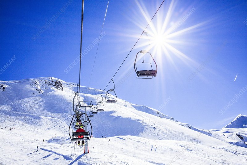 Skiers ascending on a ski lift