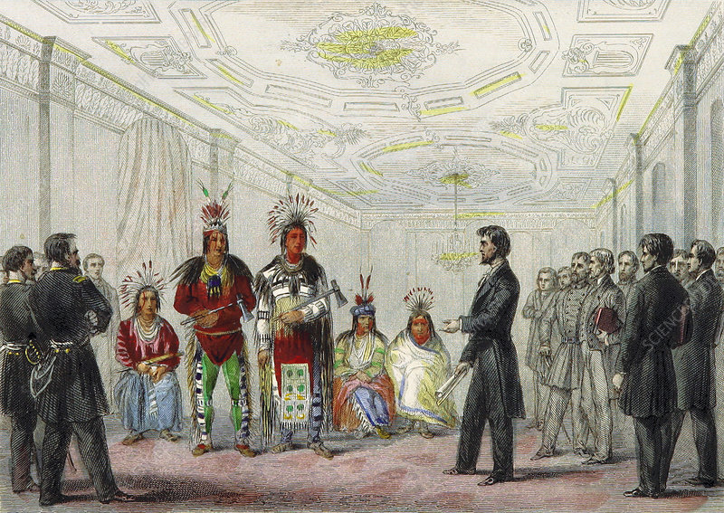 Lincoln and Native American chiefs, 1863