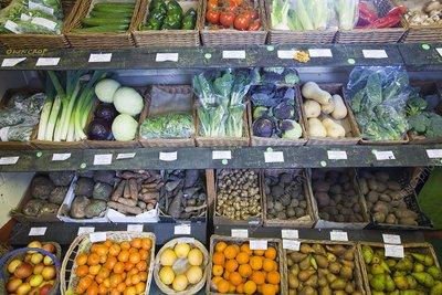 Organic farm shop display