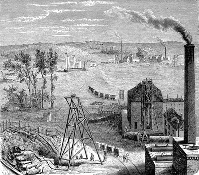 19th Century coal mine, illustration