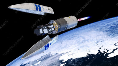 Sentinel-3 satellite launching into orbit