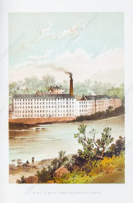 Mill where Livingstone worked, 1820s
