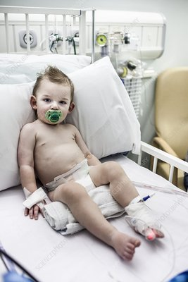 Baby boy in hospital with pneumonia