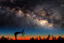 Milky Way and Silhouetted Stargazer