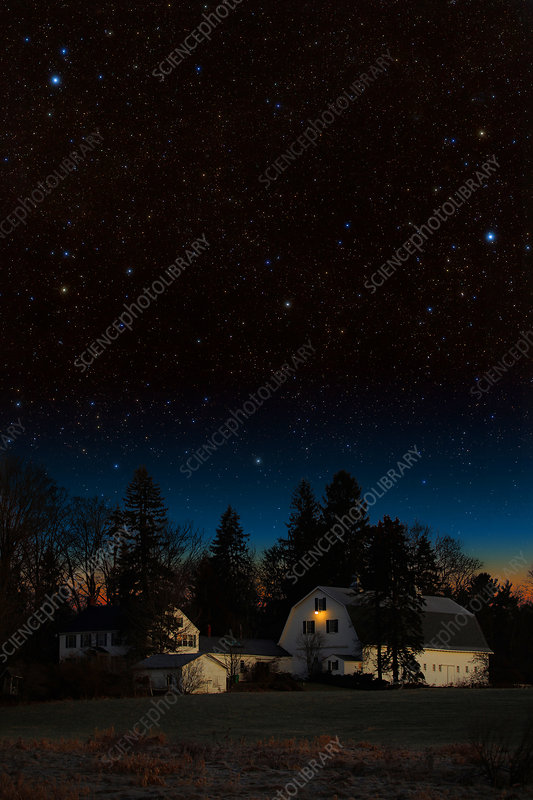 Night Sky Over Barn