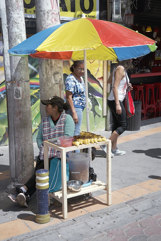 Selling fried insects, Ecuador