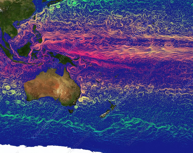 Pacific ocean currents - Stock Image C029/6127 - Science ...