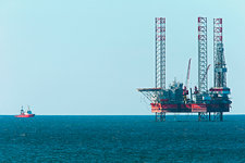 Jackup drilling rig in the Baltic Sea