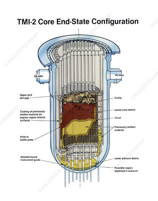 Three Mile Island damaged reactor core