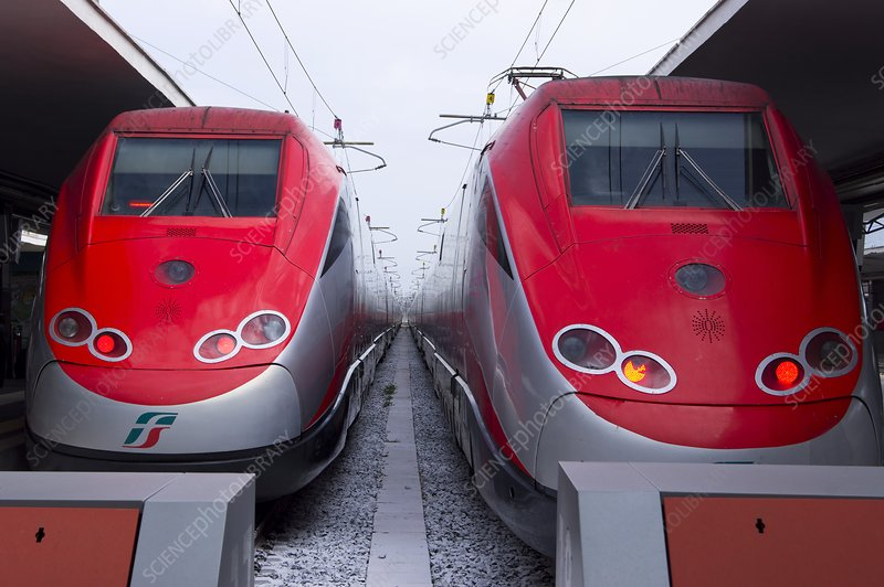 Frecciarossa trains in Naples.