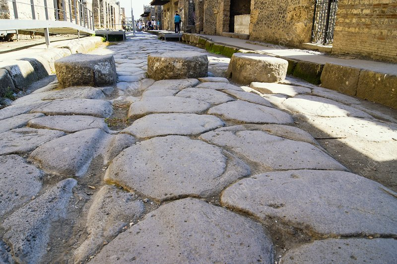 Street in Pompeii with stepping stones.