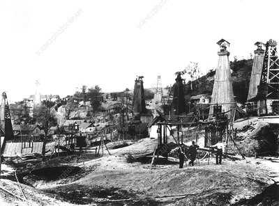 Early US oil field, historical image