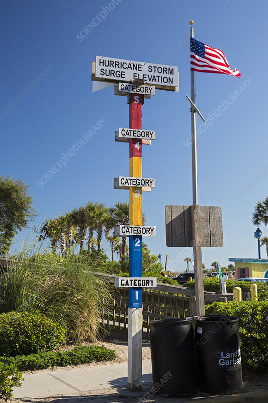 Hurricane storm surge warning marker, USA