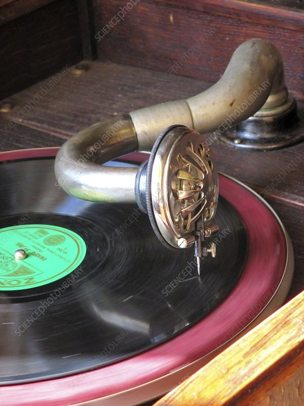 Gramaphone arm, needle and record