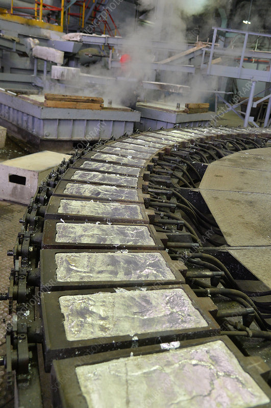 Zinc ingots at factory smelter