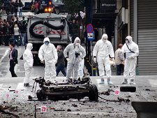 Forensic team at car bomb site