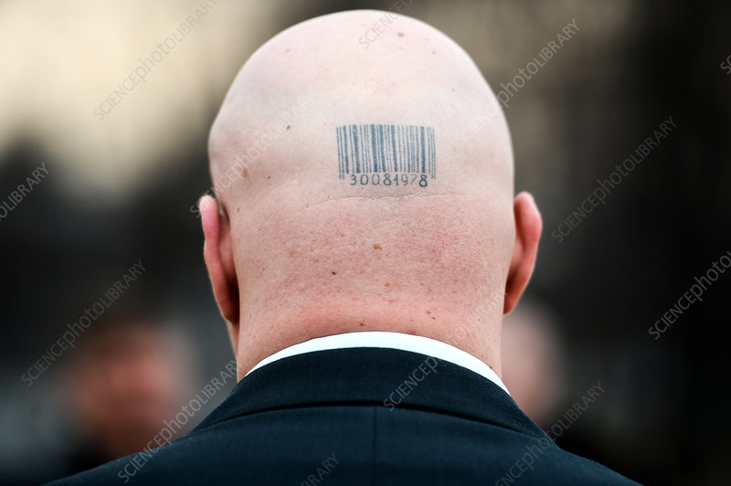 Bald head, barcode tattoo