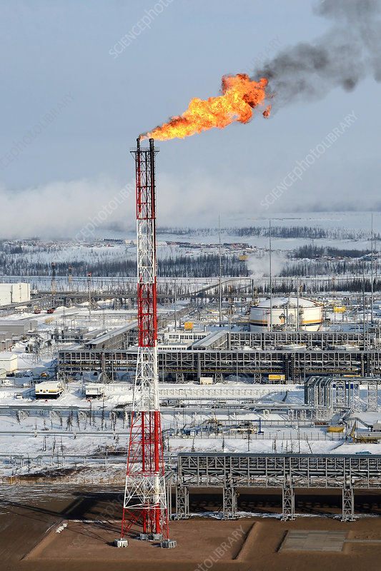 Gas flare at an oil and gas field