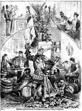 Beer drinkers, 19th Century illustration