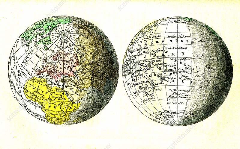 19th Century globe, illustration