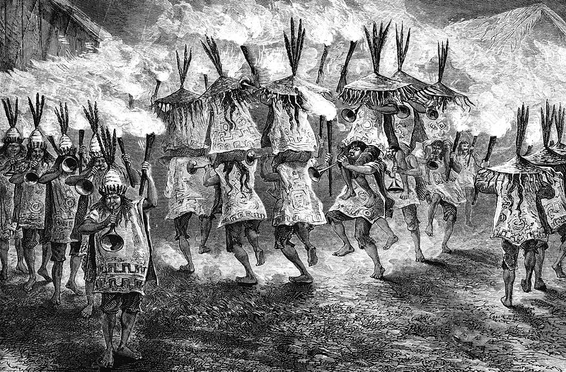 Native American torch dance, illustration