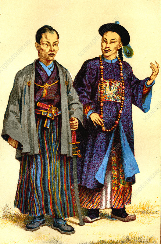 Asian men, 1875 illustration