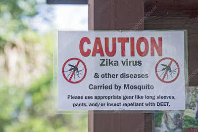 Zika virus warning sign, USA