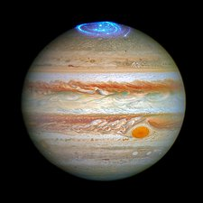 Aurora on Jupiter, HST-ultraviolet image