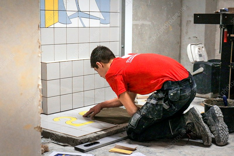 Tile laying demonstration