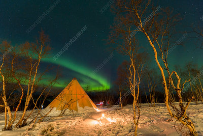 Northern lights and winter tent, Sweden