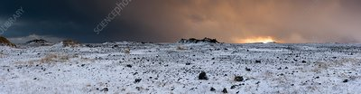 Snow storm over lava fields, Iceland