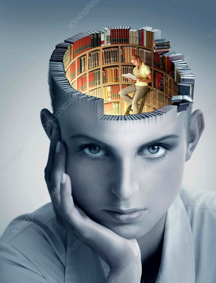 Reading and memory, conceptual image