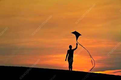 Child flying a kite at sunset