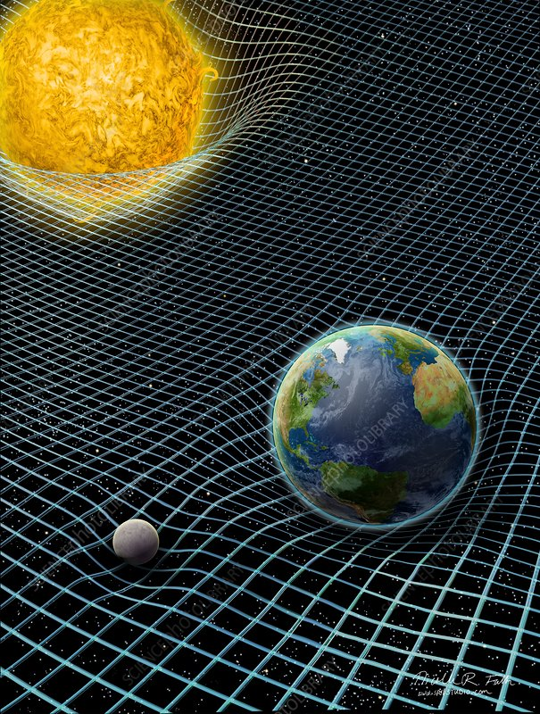 Sun earth moon and space time artwork stock image c030 for Fabric of space time explained