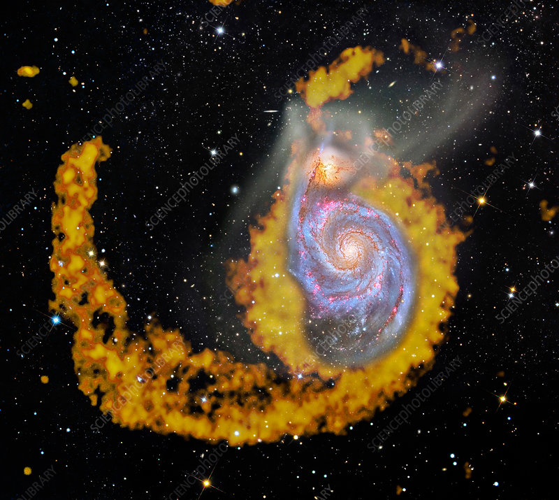 Whirlpool Galaxy, composite radio image