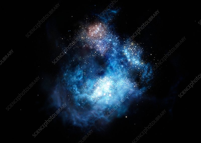 CR7 galaxy in early universe, artwork