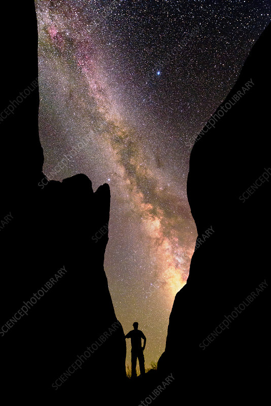 Milky Way and silhouetted observer