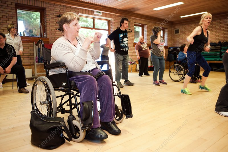 Exercise class for disabled people