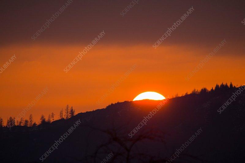 Sun setting behind Black Crag, UK