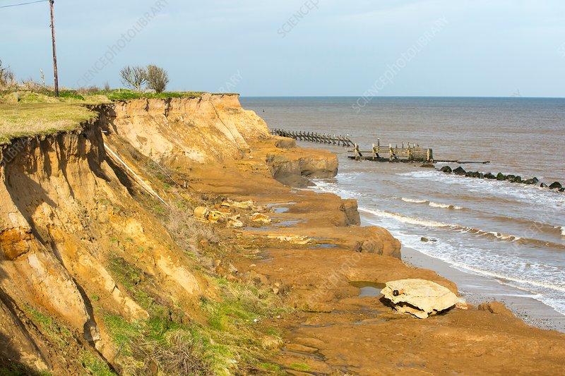 Coastal erosion, Happisburgh, Norfolk, UK