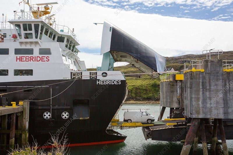 Vehicles disembarking ferry