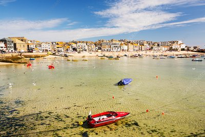 St Ives harbour at high tide, Cornwall