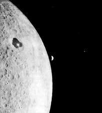 Moon and Earth from Lunar Orbiter 1, 1966