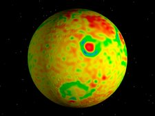 Gravity anomaly map of Mars