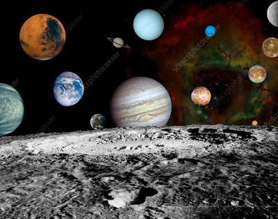 Solar system planets, montage from 2000