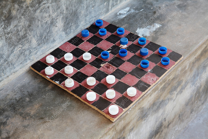 Homemade draughts board, Zanzibar