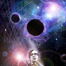 Hawking and black holes, illustration