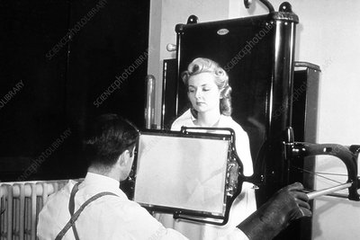 Patient being X-rayed, 1940s