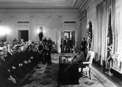 Signing the National Cancer Act, 1971